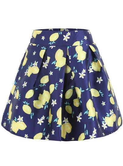 Navy Lemon Print Flare Skirt