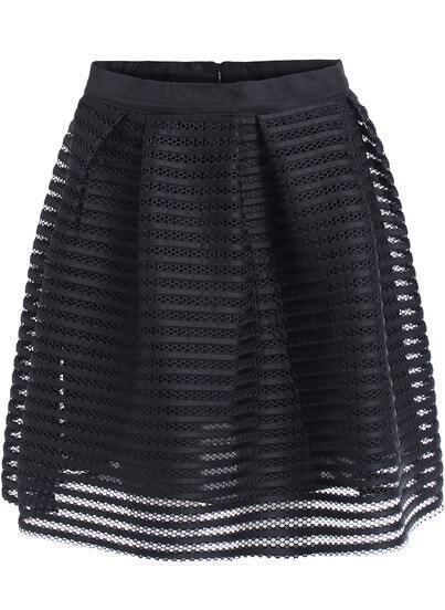 Black Hollow Flare Striped Chiffon Skirt
