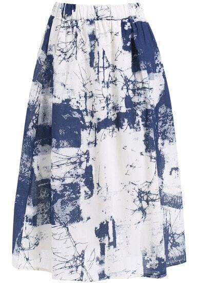 Blue Crack Print Flare Skirt