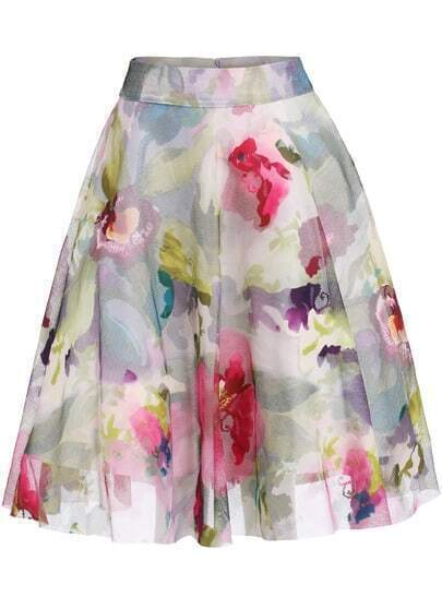 Multicolor Floral Mesh Flare Skirt