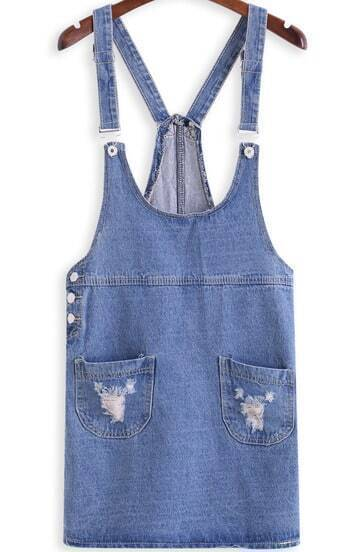 Blue Suspenders Cowgirls Strap Ripped Pockets Denim Dress
