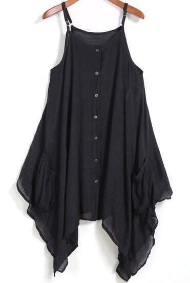 Black Spaghetti Strap Buttons Asymmetrical Dress