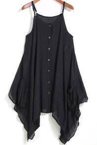 Black Spaghetti Strap Buttons Asymmetrical Dress