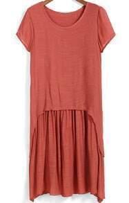 Orange Short Sleeve Asymmetrical Pleated Dress