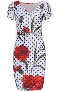 White V Neck Polka Dot Floral Bodycon Dress