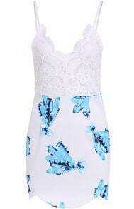 White Spaghetti Strap Lace Floral Bodycon Dress