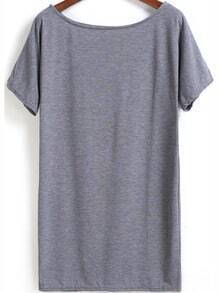 Grey Cheesecloth Short Sleeve Straight Loose Dress