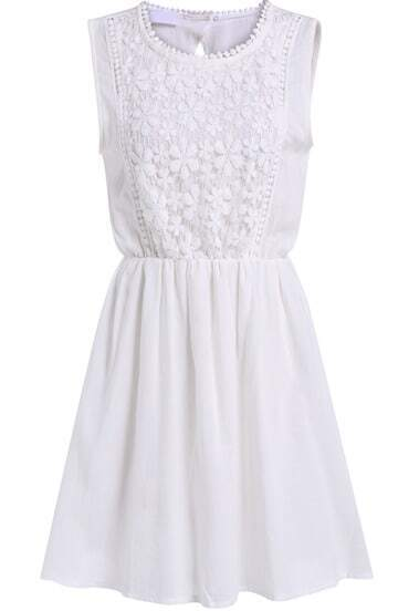 White Sleeveless Backless Pleated Slim Dress