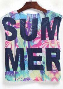 Multicolor SUMMER Print Crop Tank Top