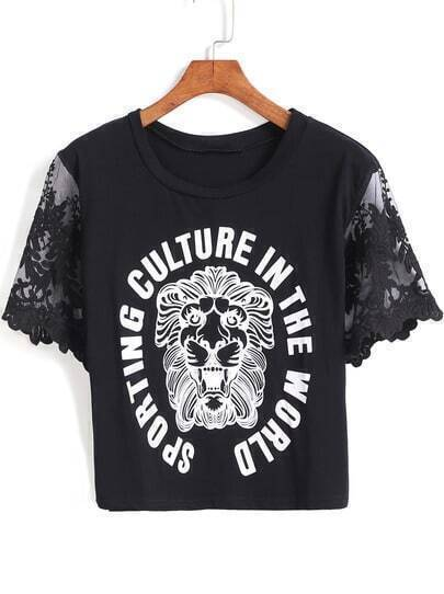 Black Lace Short Sleeve Lion Print Crop T-Shirt