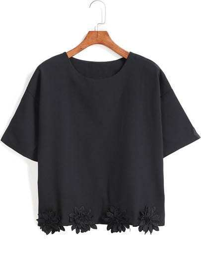 Black Short Sleeve Applique Crop T-Shirt