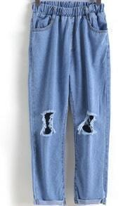 Blue Elastic Waist Ripped Flange Denim Pant