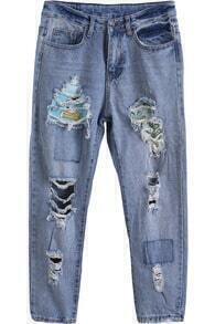 Blue Patch Ripped Denim Pant