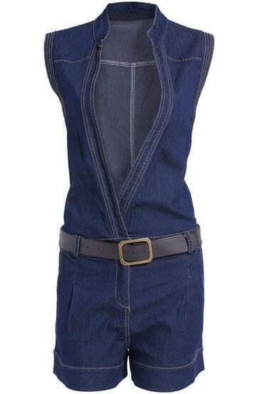 Navy Stand Collar Sleeveless Belt Denim Jumpsuit