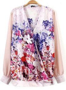 Multicolor V Neck Floral Loose Blouse