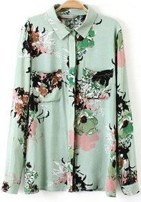 Green Lapel Long Sleeve Vintage Floral Blouse