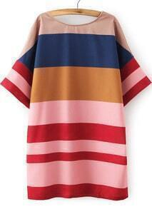 Multicolor Short Sleeve Striped Straight Dress
