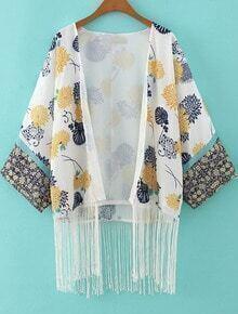 White Floral Loose Tassel Loose Kimono
