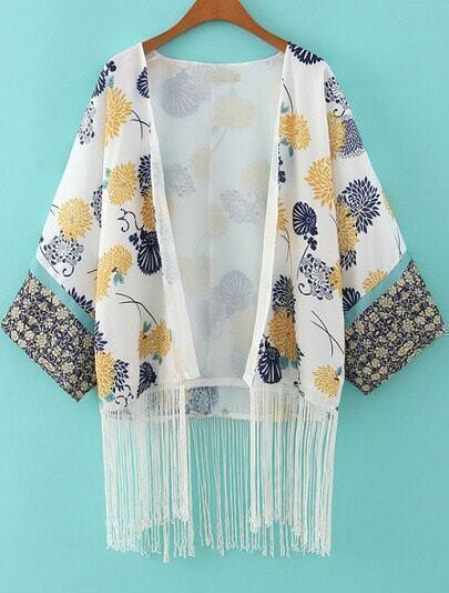 Kimono décontracté pampilles floral -blanc
