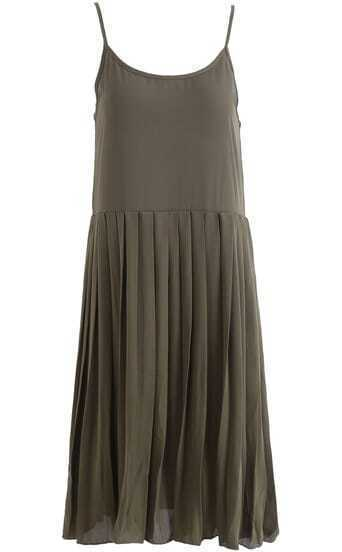 Army Green Spaghetti Strap Pleated Chiffon Dress
