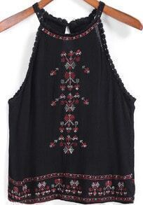 Black Lace Trims Embroidered Tank Top