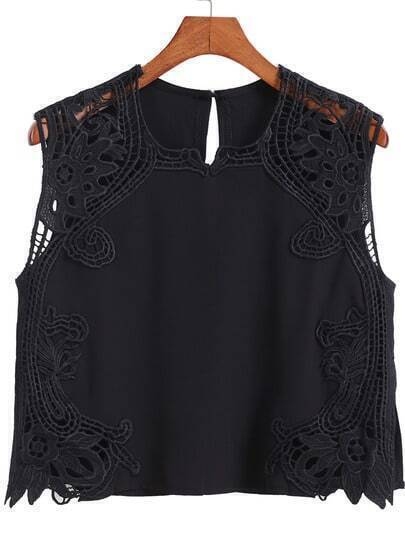 Black Round Neck Hollow Lace Tank Top