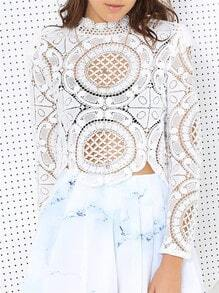 White Long Sleeve Hollow Lace Blouse