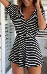 Black Deep V Neck Short Sleeve Striped Jumpsuit