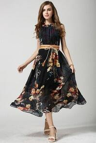 Black Sleeveless Underskirt Bohemia Great Print Tie-waist Flapper Dress