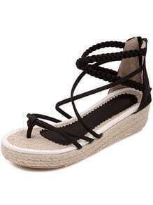 Black Cross Straps Hidden Platform Sandals