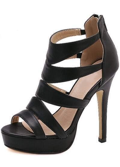 Black High Heel Platform PU Sandals