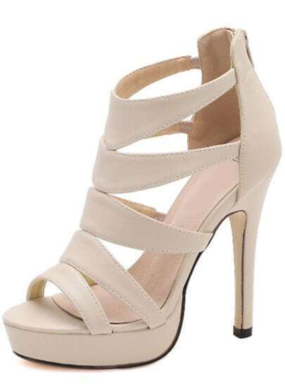 Camel High Heel Platform PU Sandals