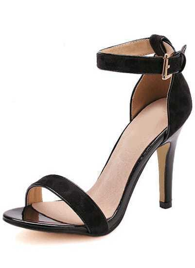 Black Buckle Stiletto Ankle Strap Sandals