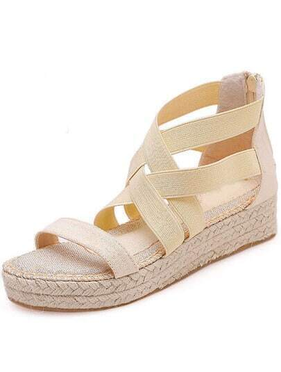 Nude Cross Straps Casual Sandals