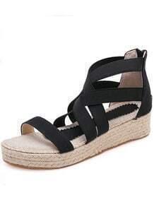 Black Cross Straps Casual Sandals