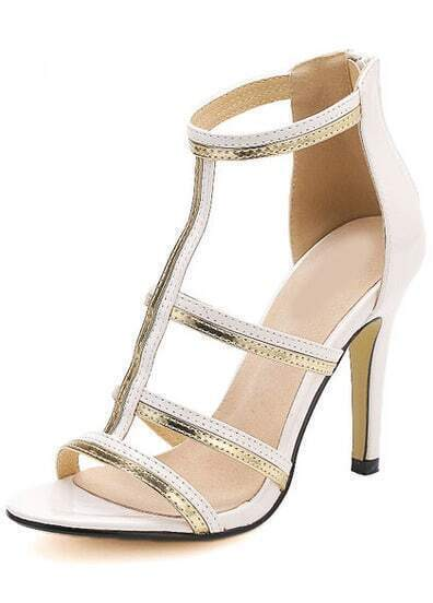 White Stiletto High Heel Patent Leather Sandals