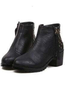 Black Vintage Rivet Zipper Boots