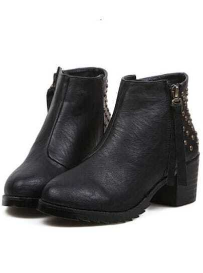 Black Vintage Rivet Zipper Boots