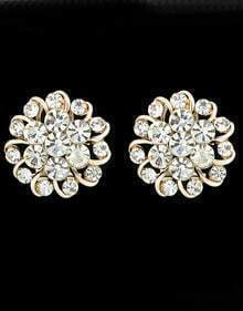 Gold With Diamond Stud Earrings