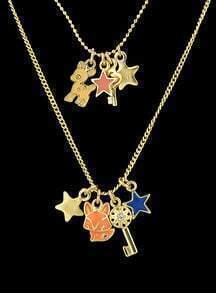 Gold Star Key Double Layels Necklace