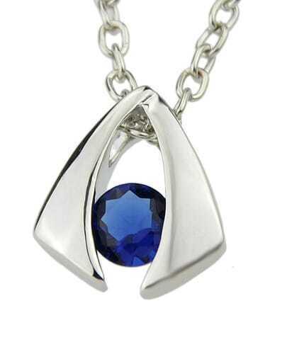 Blue Diamond Geometric Silver Pendants Necklace