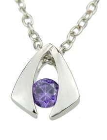 Purple Diamond Geometric Silver Pendants Necklace