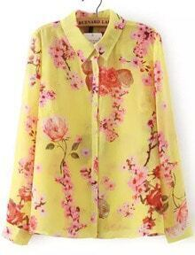 Yellow Lapel Long Sleeve Floral Buttons Blouse