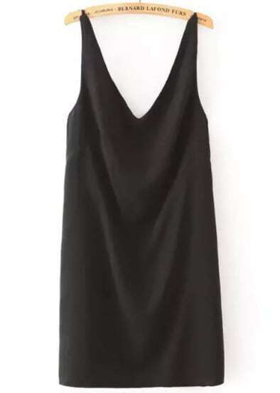 Black Spaghetti Strap Backless Tank Dress