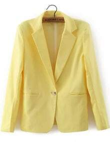 Yellow Notch Lapel Single Button Blazer