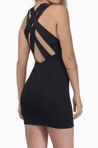 Black Back Criss Cross Hollow Bodycon Dress
