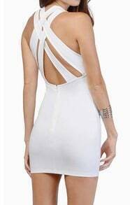 White Back Criss Cross Hollow Bodycon Dress