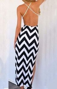 White Spaghetti Strap Resort Backless Zigzag High Low Dress