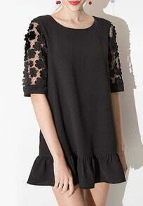 Black Half Sleeve Lace Peplum Hem Dress