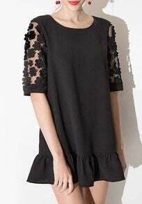 Black Half Sleeve Lace Peplum Hem Dress